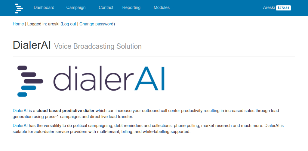 DialerAI Autodialer Welcome Page